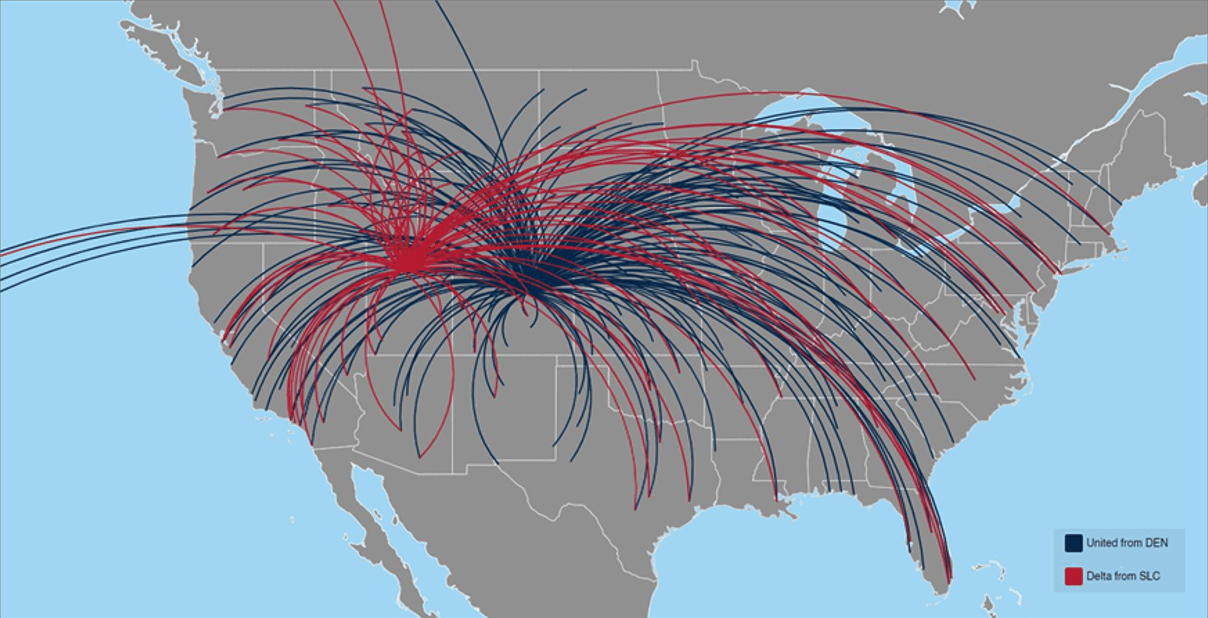 The locations reached by connections through Delta and United Airlines