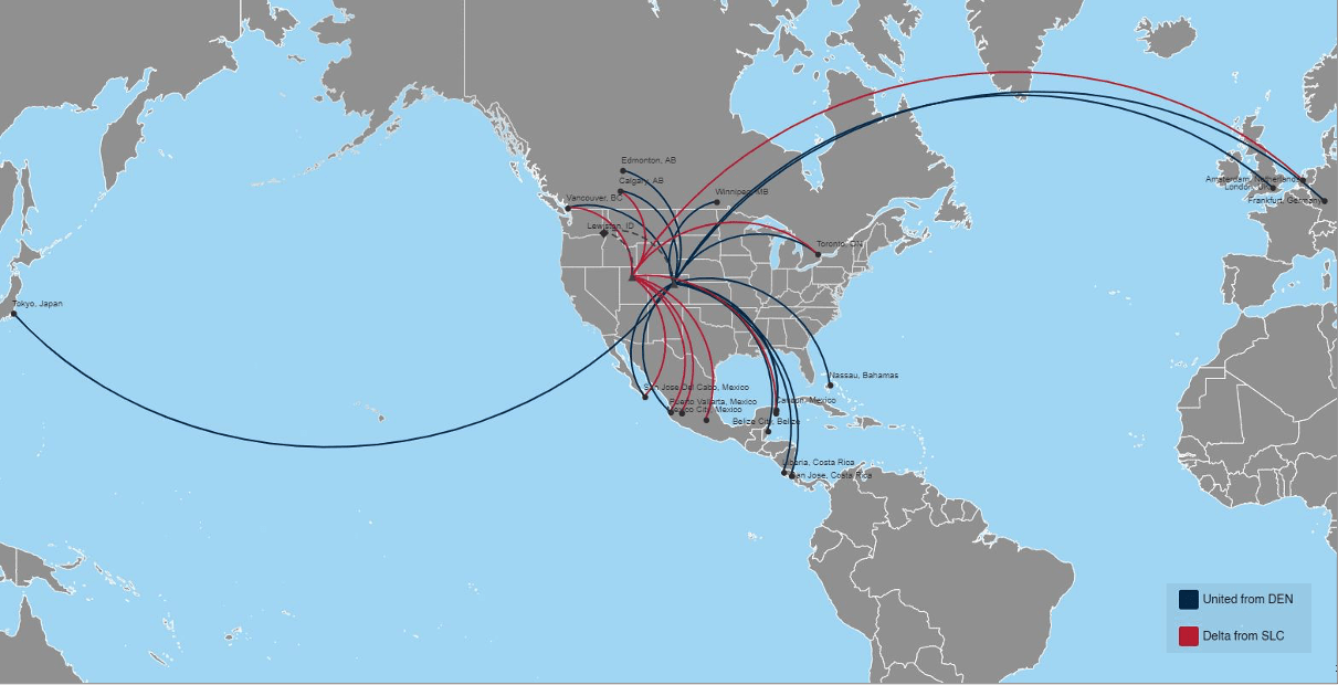 Worldwide connections reached through flights by Delta and United Airlines